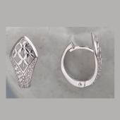 Серьги-конго Узор с фианитами из серебра 925 пробы