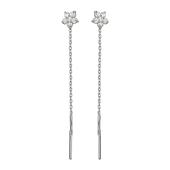 Серьги продевки Цветок с фианитом из серебра 925 пробы