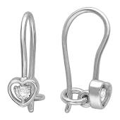 Серьги Сердце с фианитом из серебра 925 пробы