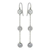 Серьги длинные с ювелирным стеклом, серебро