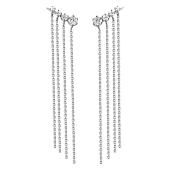 Серьги-Каффы длинные с фианитом Дождик, серебро