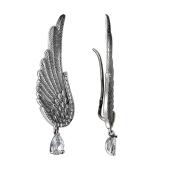 Серьги каффы Европа Крыло с фианитами и подвеской, серебро