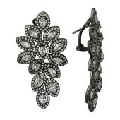 Серьги Цветы с фианитами из серебра 925 пробы с чернением