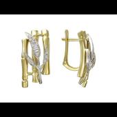 Серьги Бамбук с фианитами, желтое и белое золото 585 пробы