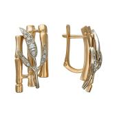Серьги Бамбук с фианитами, красное и белое золото