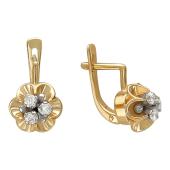 Серьги Цветы с тычинками из фианитов, комбинированное золото