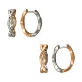 Серьги конго Дуэт с плетением и фианитами, белое и красное золото