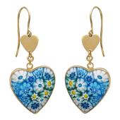 Серьги на крючке Мурано в форме сердца с золотым сердцем сверху, красное золото