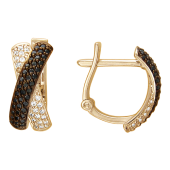 Серьги, красное золото, две перекрестные дорожки из белых и чёрных фианитов