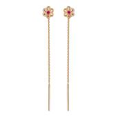 Серьги на цепочке с цветочком и цветным фианитом, красное золото, 585 пробы