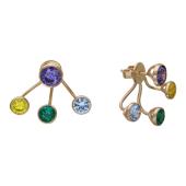 Серьги-пусеты двойные с цветными фианитами (голубой, зеленый, желтый, сиреневый), красное золото