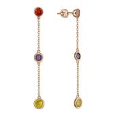 Серьги-пусеты длинные с тремя цветными фианитами (красный, сиреневый, желтый), красное золото