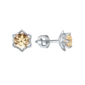 Серьги пусеты с желтым кристаллом Сваровски в фигурном держателе цветок, белое золото 585 проба