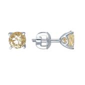 Серьги пусеты с желтым кристаллом Сваровски и фигурным держателем, белое золото 585 проба