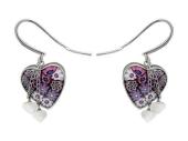 Серьги-висюльки с Мурано в форме сердца, два золотых сердца на цепочке, белое золото