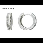 Серьга-кольцо одиночная с дорожкой фианитов, белое золото