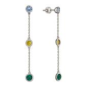 Серьги-пусеты длинные с круглыми фианитами (зеленый, голубой, желтый), белое золото