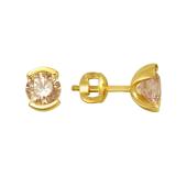 Серьги пусеты с круглым желтым кристаллом Сваровски, желтое золото 585 проба