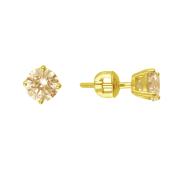 Серьги пусеты с круглым коньячным кристаллом Сваровски, желтое золото 585 проба