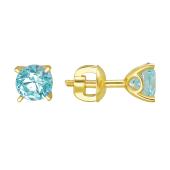 Серьги пусеты с круглым голубым кристаллом Сваровски, желтое золото 585 проба
