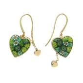 Серьги-висюльки с Мурано в форме сердца, два золотых сердца на цепочке, желтое золото