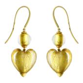 Серьги на крючке с желтым Мурано в форме сердца и шарика, желтое золото