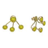 Серьги-пусеты двойные с желтыми фианитами, желтое золото