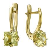 Серьги с квадратными наноситалами Гелиодор, желтое золото