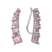 Серьги каффы Dream с розовыми фианитами, серебро