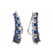 Серьги каффы Dream с синими фианитами, серебро