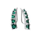 Серьги каффы Dream с зелеными фианитами, серебро