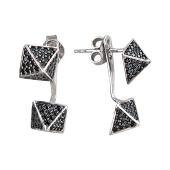 Серьги пусеты Пирамида с чёрными фианитами, серебро