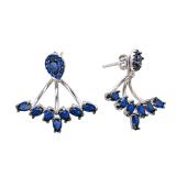 Серьги Dream джекеты с синими фианитами, серебро