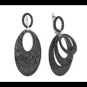 Серьги длинные Dream овальные многослойные с черными фианитами, серебро
