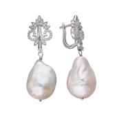 Серьги царские с жемчугом барокко и фианитами, серебро