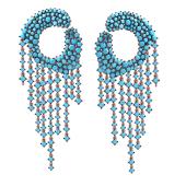 Серьги пусеты длинные Dream круглые с голубыми фианитами и дождиком, серебро с позолотой