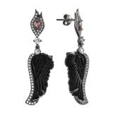 Серьги Крылья Ангела с чёрным пластиком и розовым фианитом, серебро с чернением