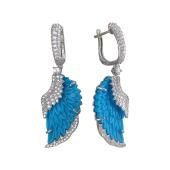 Серьги Крылья Ангела с фианитами и синим пластиком, серебро