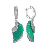 Серьги Крылья Ангела с фианитами и зеленым пластиком, серебро