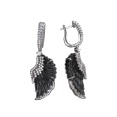 Серьги Крылья Ангела с фианитами и чёрным пластиком, серебро с чернением