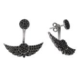Серьги-джекеты Dream Крылья с черными фианитами, серебро