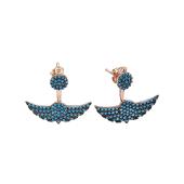 Серьги-джекеты Dream Крылья с голубыми фианитами, серебро с позолотой