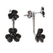 Серебряные серьги джекеты Dream Цветы с черными фианитами, 925 проба