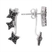 Серебряные серьги джекеты Dream Звезды с черными фианитами, 925 проба