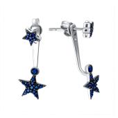Серебряные серьги джекеты Dream Звезды с синими фианитами, 925 проба