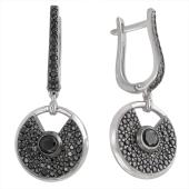 Серебряные серьги длинные Dream круглые с черными фианитами, 925 проба