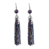 Серьги длинные с фиолетовой хрусталью и прозрачными фианитами из серебра 925 пробы