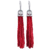 Серьги кисти с красным хрусталем из серебра 925 пробы