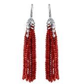 Серьги длинные Кисти с красным хрусталем и фианитами из серебра 925 пробы
