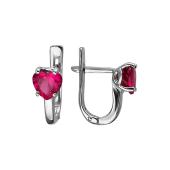 Серьги Сердце с нанорубином из серебра 925 пробы